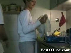 Takes her in the kitchen Homemade clip of euro couple spontaneous kitchen doggy style. 2 months ago