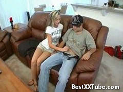 Relaxed handjob on the couch girl patiently giving her guy a handjob untill his cumshot. 2 months ago